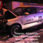 В Киеве Uber влетел в столб на Гаванском мосту